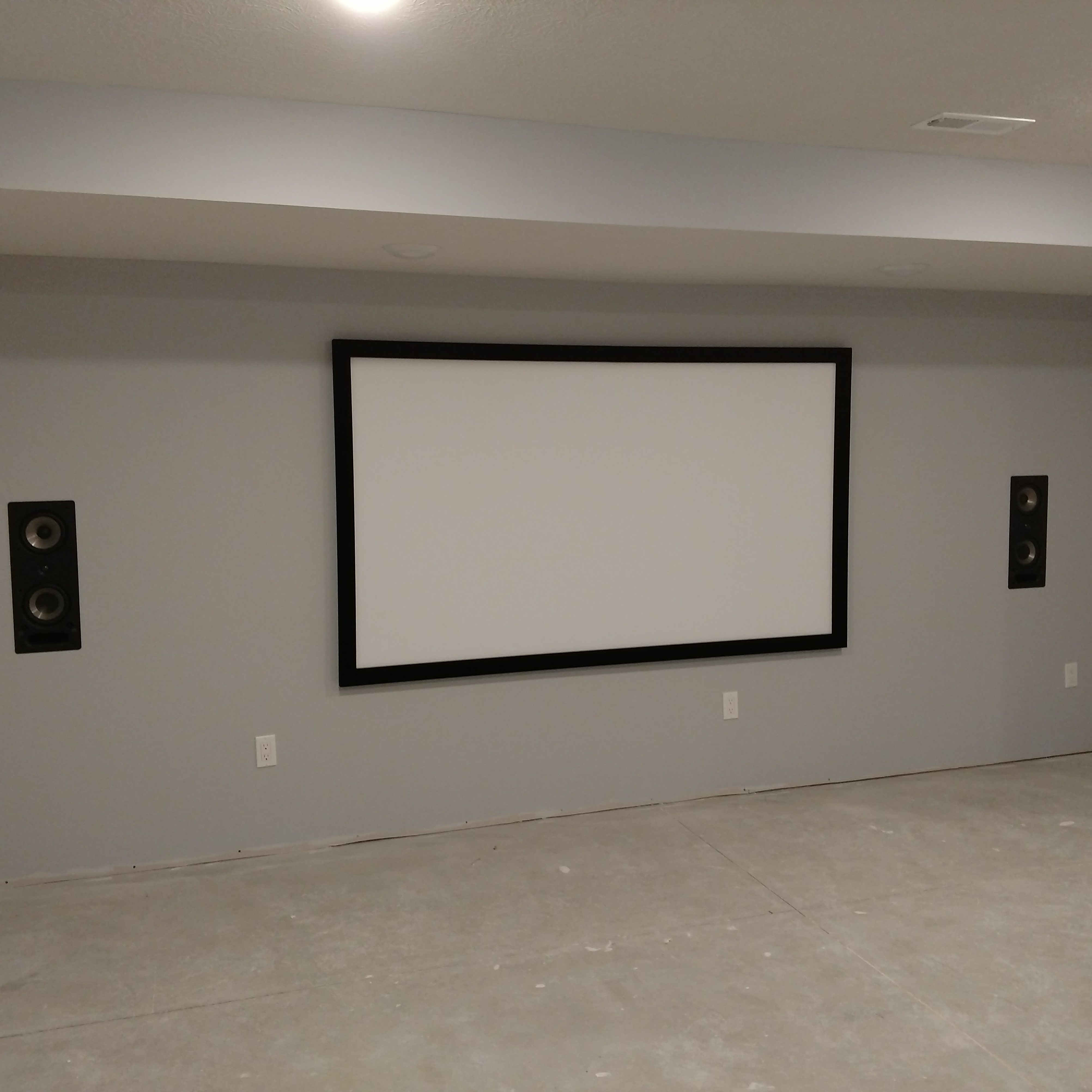 Custom wiring done for built in wall speakers.
